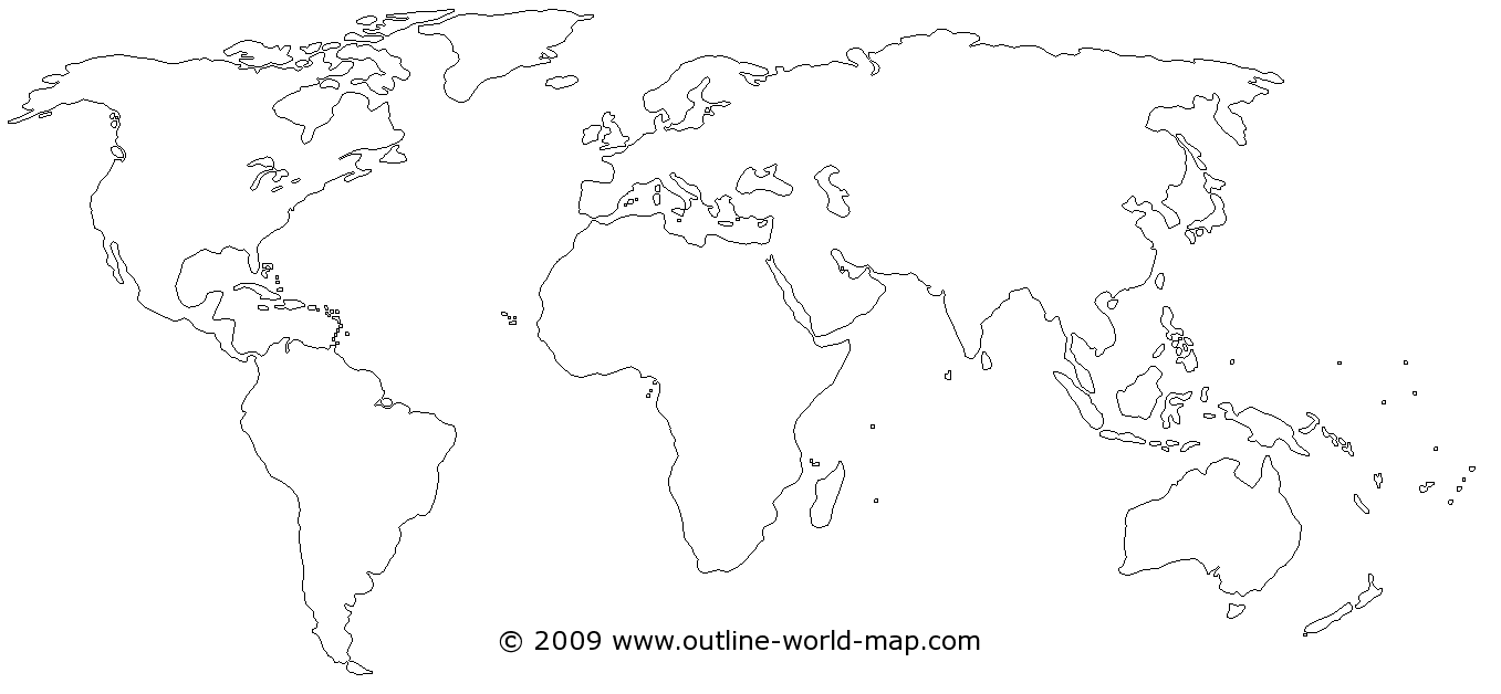 Blank world map with white areas - b3a | Outline World Map Images