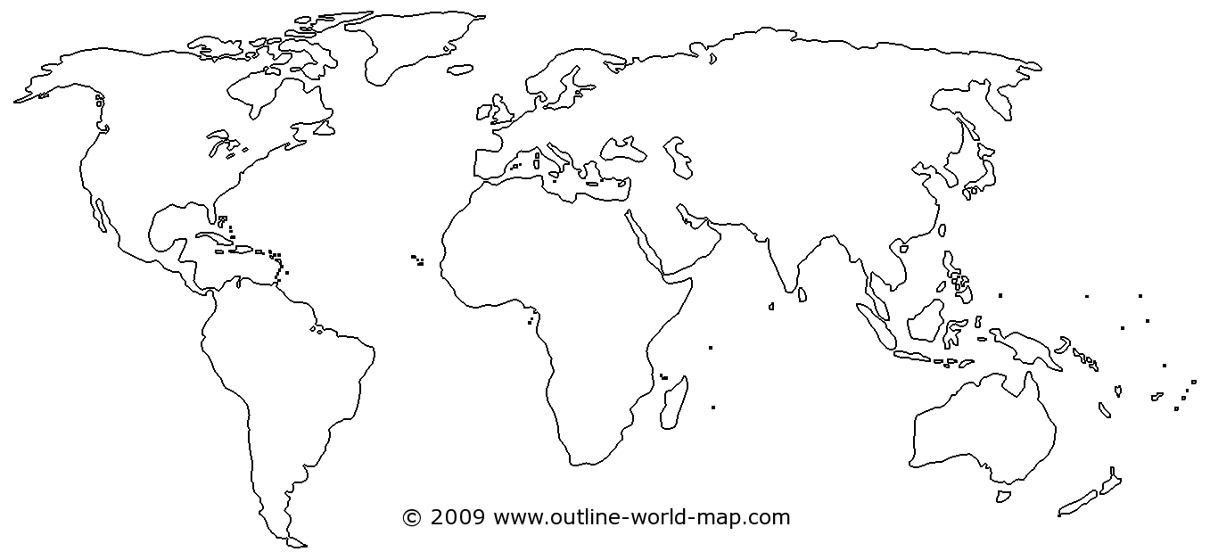Outline world map with medium borders, white continents and oceans - b3b